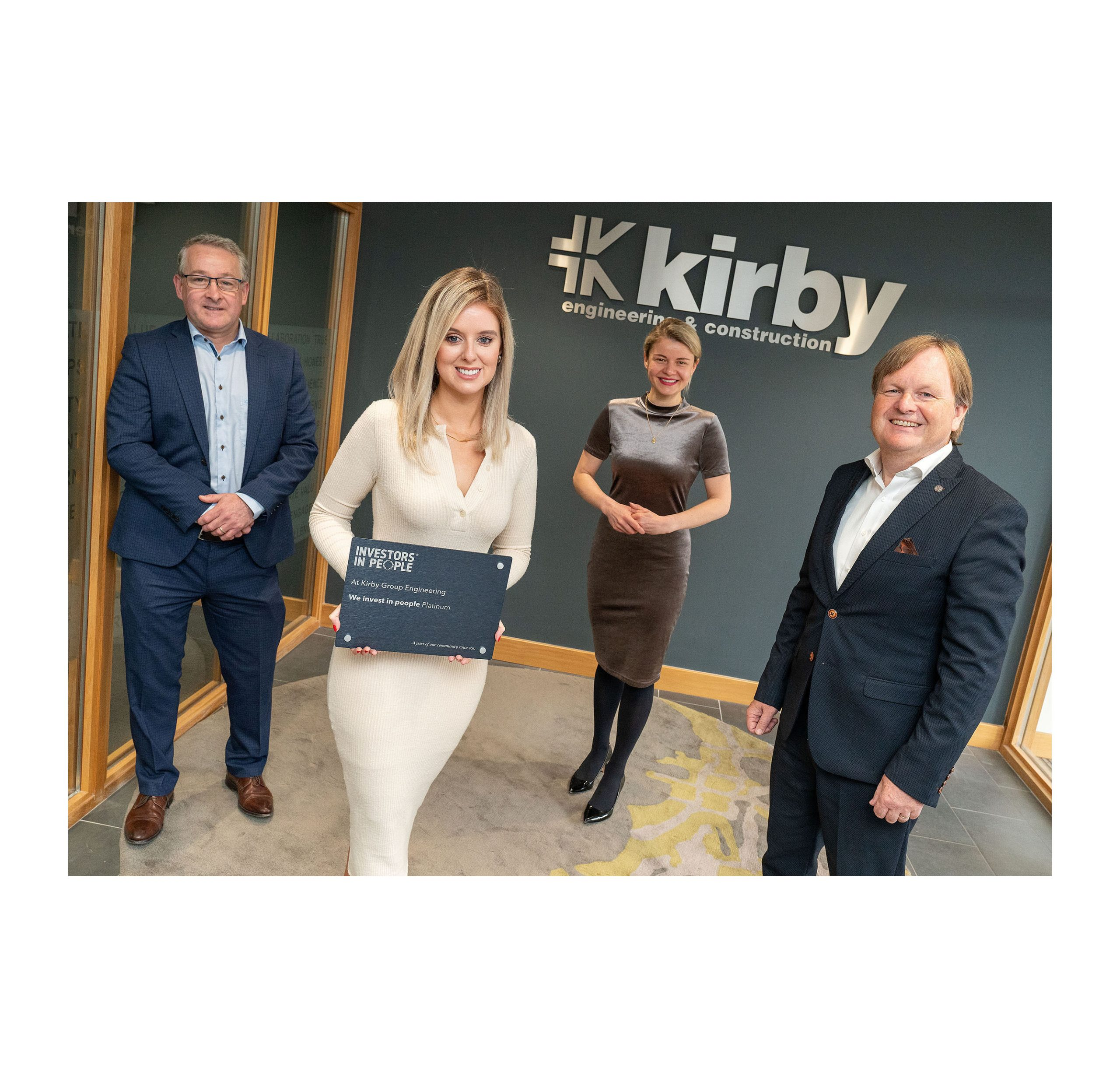 ( L - R ) Mark Flanagan, Group Managing Director,  Michelle Powell, HR Business Partner, Giedre Visockaite, Associate Director – Strategy and Marketing and Fergus Barry, Group Head of Human Resources. Kirby Group Engineering has made the final shortlist for 'Employer of the Year' in The Investors in People Awards 2021.