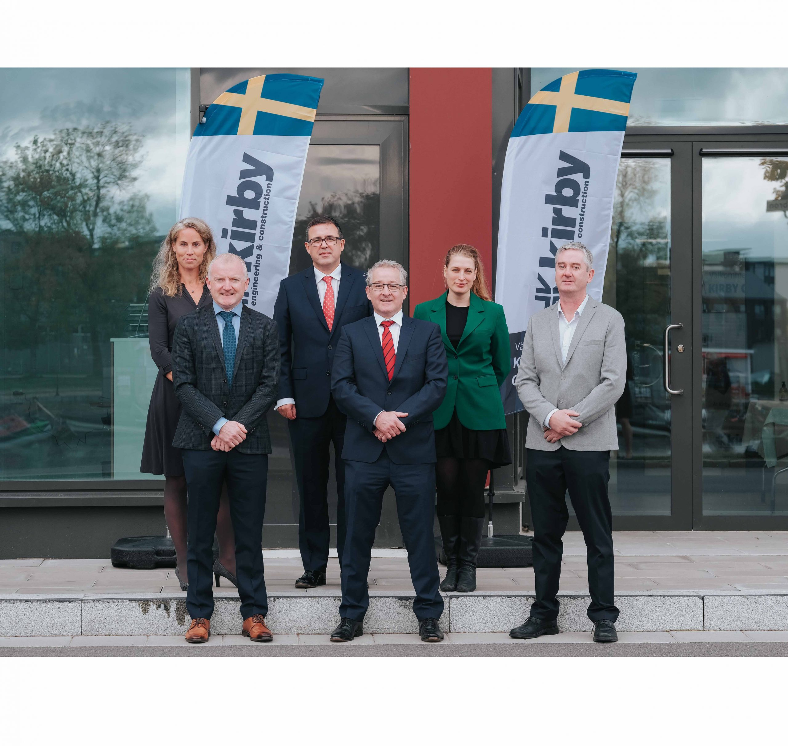 Kirby Group Engineering has announced it is establishing a new office presence in Gävle, Sweden. Pictured at today's announcement are: L-R - Back Row – Karin Angus, Enterprise Ireland's Global Lead Datacentres, Ambassador Austin Gormley, Eva Älander – Chairman of the Municipal Council Front Row - John Grogan – Kirby Group Engineering Director, Mark Flanagan – Kirby Group Managing Director, Pearse Dolan – Kirby Operations Manager