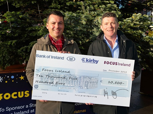 Jimmy Kirby, Kirby Group Managing Director, presents €10,500 donation to JP Le Bon, Focus Ireland