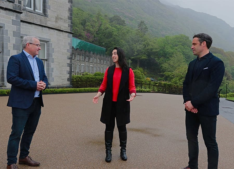 Group MD of Kirby Group Engineering Mark Flanagan, Zoe Langsdale, Programme Manager with Alan Kerins, founder of Heroes Retreat and CEO of Iconic Caminoat the Kylemore Abbey Global Centre in Galway as they launched the new programme.