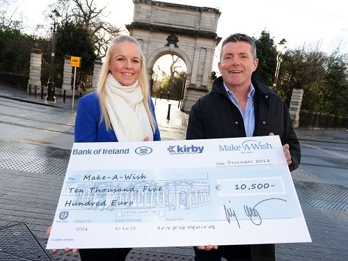 Jimmy Kirby, Kirby Group Managing Director, presents €10,500 donation to Marjut Ellis, Make-A-Wish Ireland
