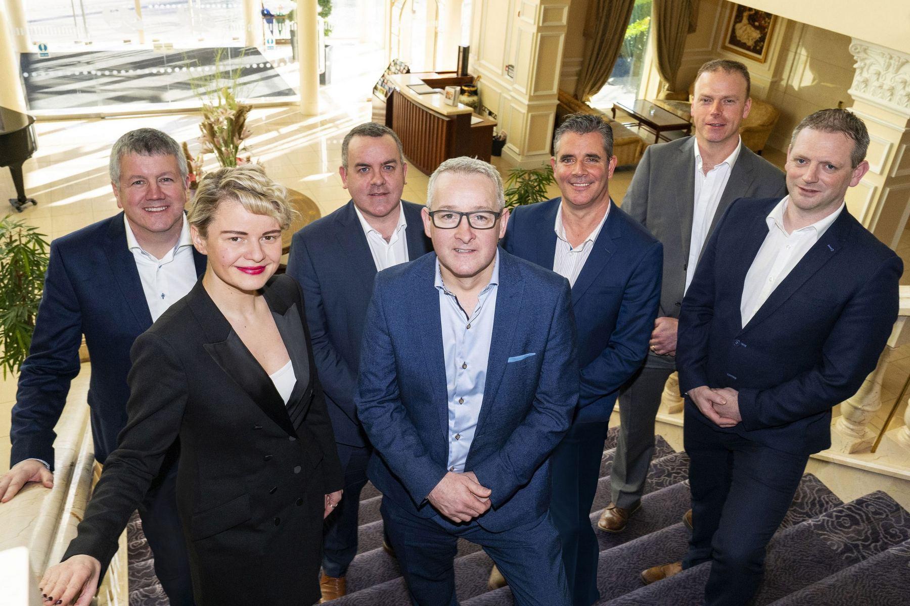 (L to R): Sean Meagher, Associate Director – Commercial, Giedre Visockaite, Associate Director – Strategy and Marketing, Henry McCann, Group Operations Director, Mark Flanagan, Group Managing Director, Brian Burke, Operations Manager – Connacht, Ruairi Ryan, Associate Director – Operations and Mikey Ryan, Associate Director – Business Unit Leader – Operations Connacht