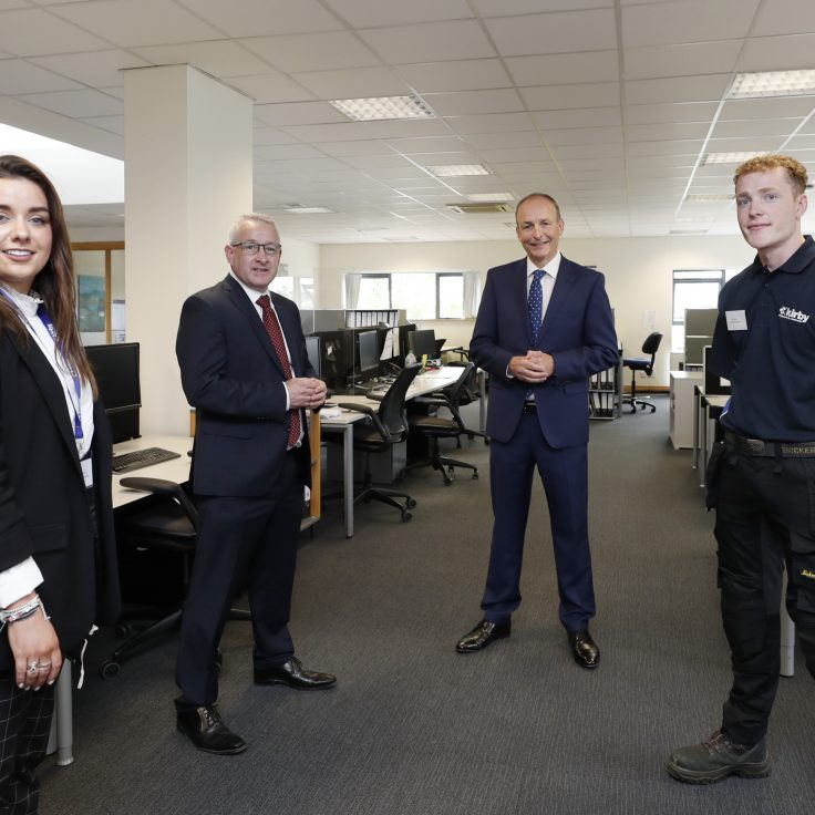 Attending the announcement in Limerick were Taoiseach Micheál Martin, Kirby Group Managing Director,  Mark Flanagan, Eve Cassidy, Civil Engineer and Paul Lynam,  Apprentice.